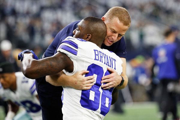 Dez Bryant Photos Photos - Head coach Jason Garrett of the Dallas Cowboys meets with Dez Bryant #88 of the Dallas Cowboys before the NFC Divisional Playoff Game against the Green Bay Packers at AT&T Stadium on January 15, 2017 in Arlington, Texas. - Divisional Round - Green Bay Packers v Dallas Cowboys