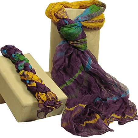 Chiffon sjaal paars (2 stuks) - Meditatie