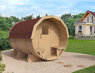 ISIDOR Barrel Sauna M2 Premium 2.96m with porch, optional heater selection