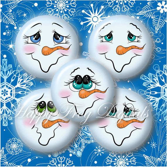 Snowmen faces – Set 1 – 1.5″, 1″, 30 mm, 25 mm circles – Digital Collage Sheet – 300 HFD – Printable Download – Instant Download