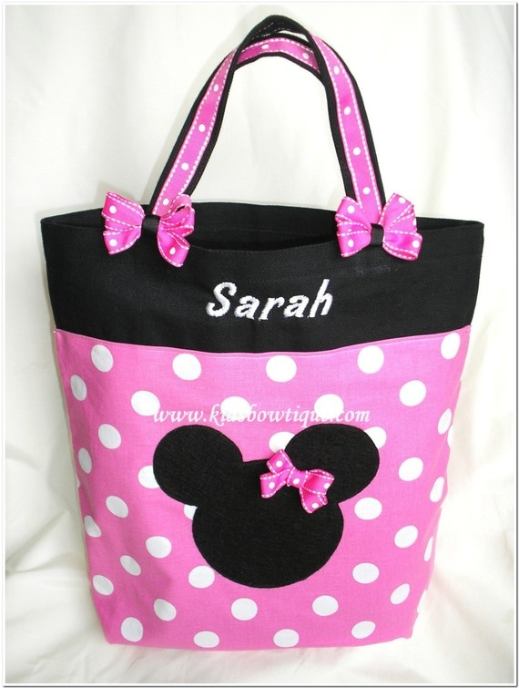 Pink Minnie Mouse Personalized Bag with Matching Hair Bows:::