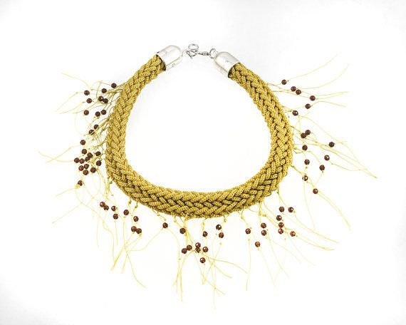 Rope Necklace  Statement  Necklace Wooven Rope by EleannaKatsira, €75.00