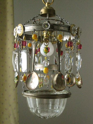 Bohemian Light fixture made from vintage silver spoons.