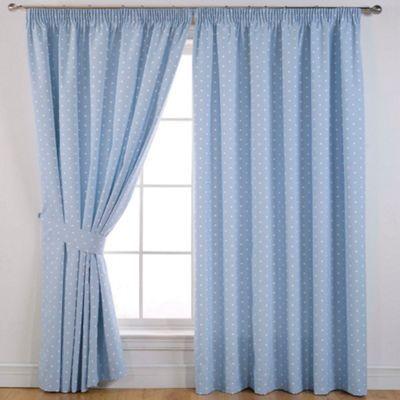 29 - Sundour Dotty Powder Blue Pencil Pleat Curtains- | Debenhams
