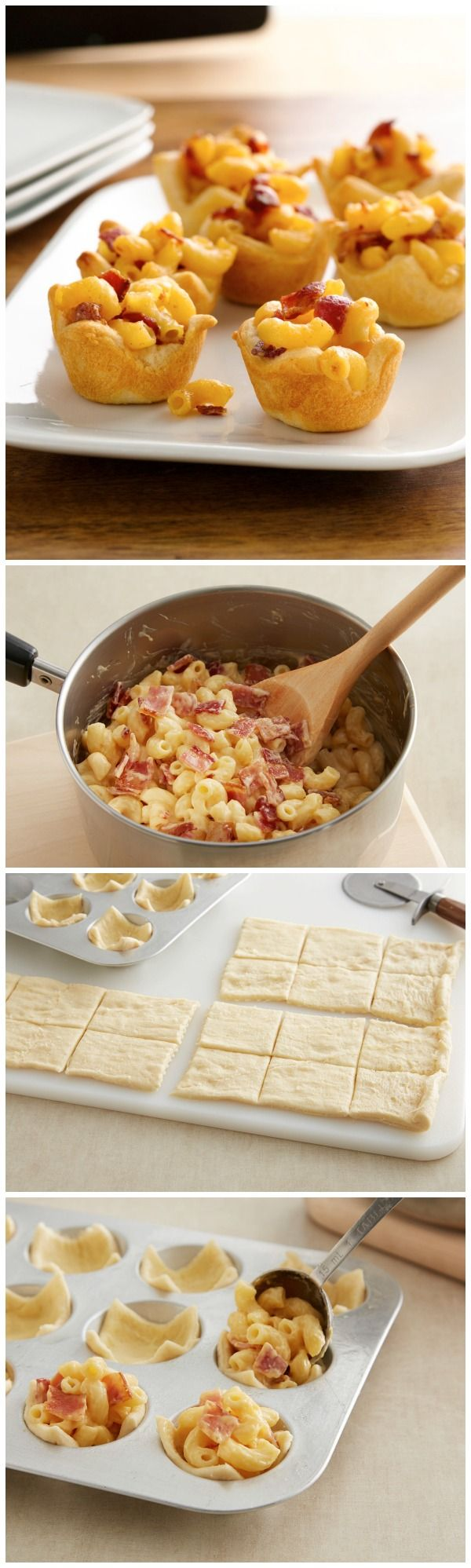 Adorable mini crescent cups stuffed with mac and cheese and bacon!