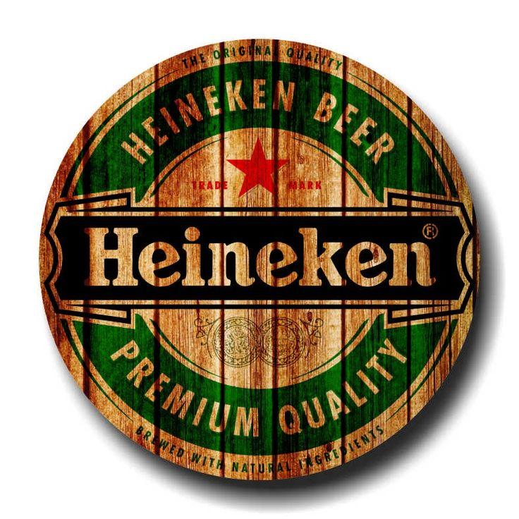 placa de cerveja  cod. 120103 diam heineken logo madeira