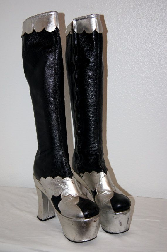 c2a8b116764 70s Glam Rock Black and Silver Leather Platform Boots