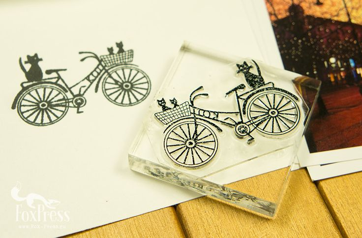 Cats on Bicycle. Rubber Stamp 2 x 2 inches 5 x 5 by TheFoxPress
