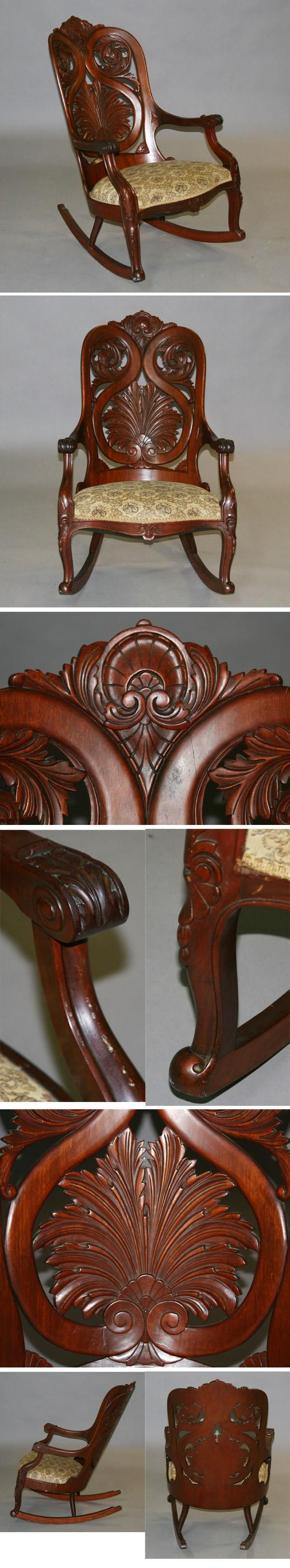 Victorian rocking chair - Rococo Laminated Rosewood Rocking Chair Rocker Antique Helper