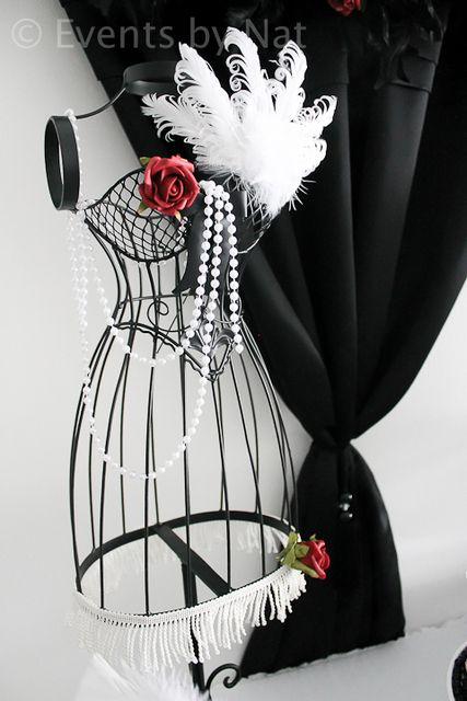 Decor at a 1920's Glam Party in red, black and white #1920s #glamparty