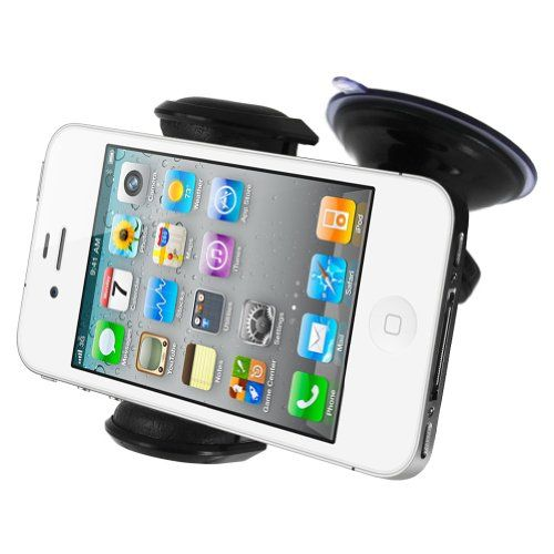 Universal Mivizu Car Mount System for Dashboard or Windshield with Suction Cup (Black). Bonus Optional Vent Mount