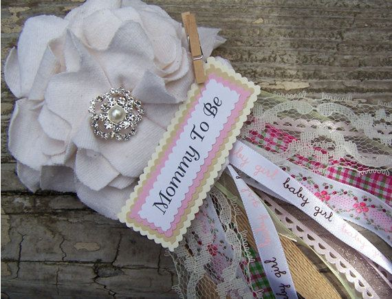 Amazing Shabby Mom To Be Corsage Pink Shabby Chic Baby Shower By BloomingParty,  $16.00