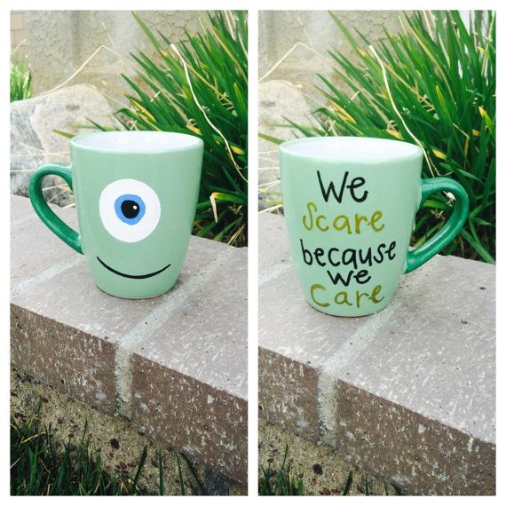 Hand painted Disney Mike Monster's inc. coffee mug on etsy