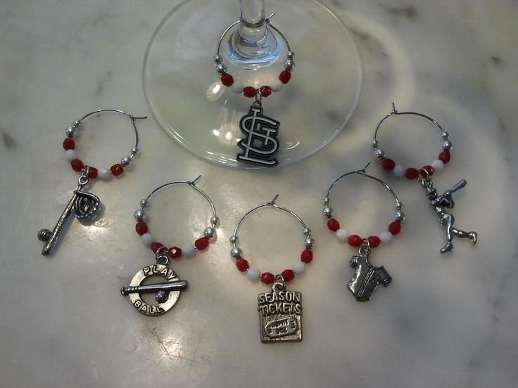 Saint Louis Cardinals Baseball Wine Charms w/ Pouch by pchum