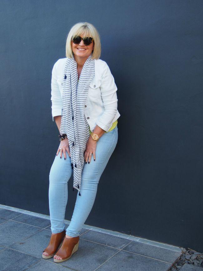 Katies New Cotton Collection / Cotton Denim Jacket / 00103487 | Stripe Tassel Scarf / 00106256 | Slim Cotton Ultimates / 00103443