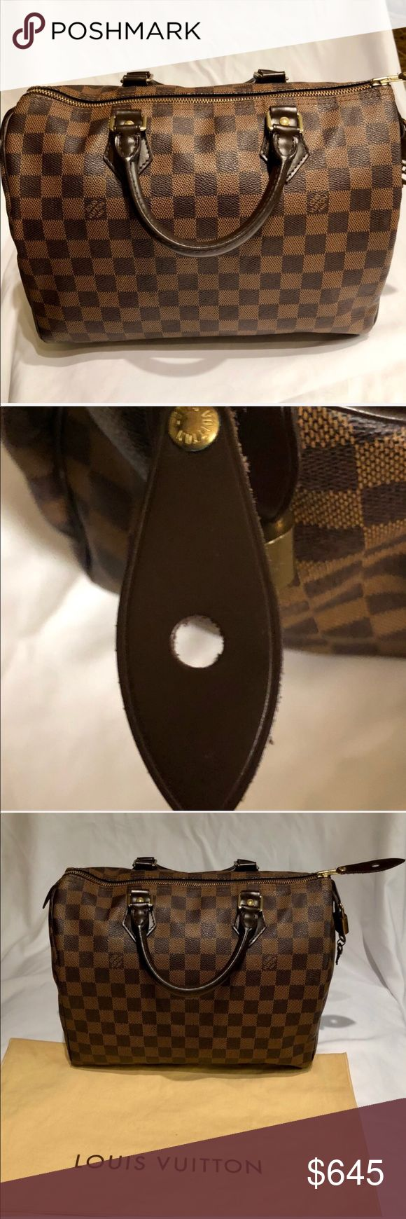Louis Vuitton Speedy 25! Iconic 'Speedy 25' handbag.Damier canvas, leather trimmed, gold colored metallic pieces,red textile lining. Exterior is in excellent condition with only a couple exterior scuffs pictured. Interior has a few stains due to lotion leaking I did my best to clean it gently so it has some water stains of where I cleaned.  It's only on the bottom interior. I only used the purse a handful of times it's practically new.  The outside looks amazing. Louis Vuitton Bags Totes
