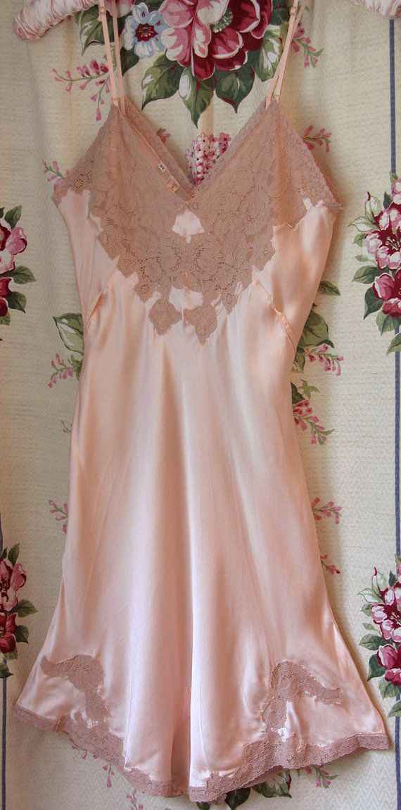 Vintage 30's Peach Silk Teddy Lingerie STEPINS Lace by Bungalow329, $59.99