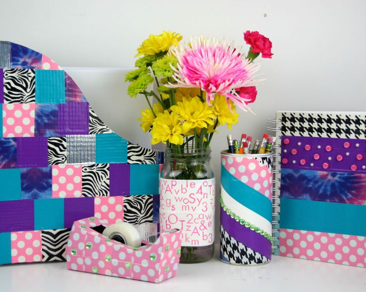 Duct-Tape Embellished Desk Accessories