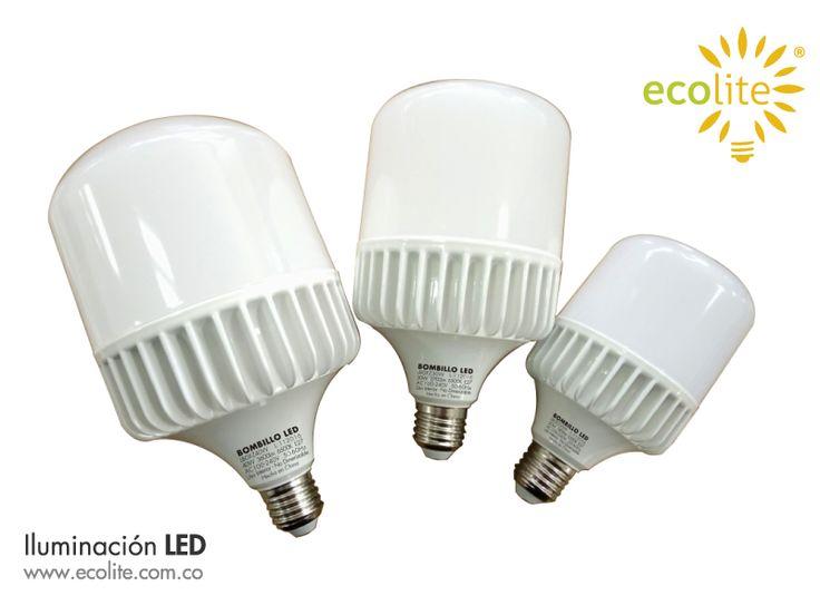 La iluminacion LED  Ecolite®  ha logrado presentar los bombillos de alta potencia para lugares amplios o para alturas. Mas eficiencia y poder lumínico con menos consumo de energia