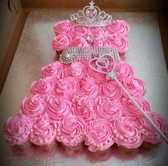 Princess cupcake dress   First birthday 1 year old 2 girly girls party theme pink frosting decor silver bling tiara wand diamond DIY
