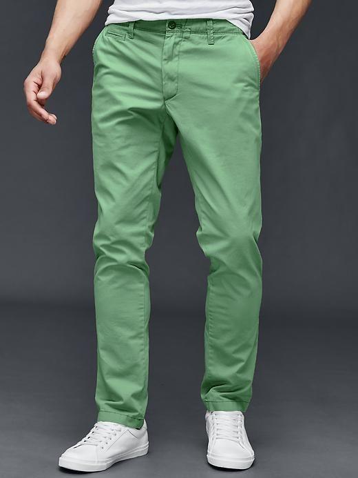 Vintage washed slim fit khakis
