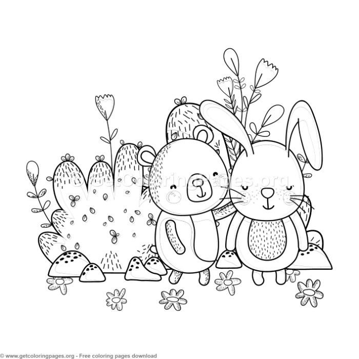 Bunny And Bear Best Friends Coloring Pages Free Instant Download Coloring Coloringbook Coloringpage Coloring Pages Animal Coloring Pages Free Coloring Pages