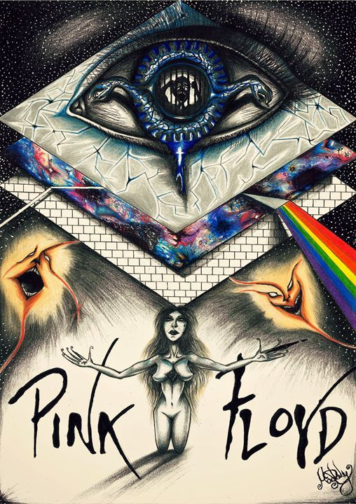 Artwork inspired by the cult psychedelic rock band Pink Floyd. Made on A3 paper, using pencils and ink