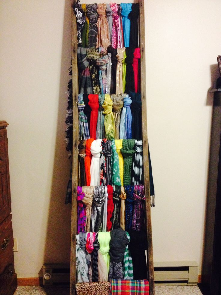 Found an old ladder at an antique sale and used it to hang scarves! Fantastic idea!