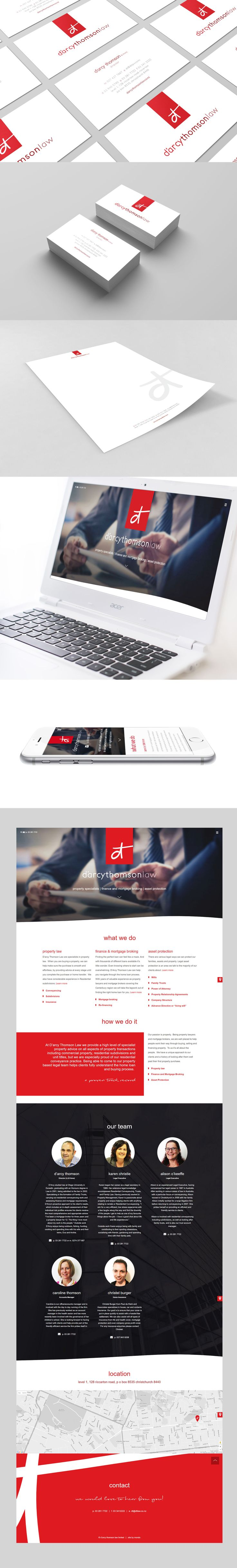 Brand Identity. Print Collateral. Responsive + Scrolling Website Design + Development. D'Arcy Thompson Law, Christchurch, New Zealand.