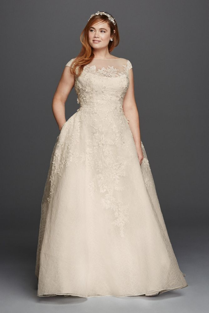 Extra Length Plus Size Oleg Cassini 3D Floral and Lace Wedding Dress - Ivory, 26W