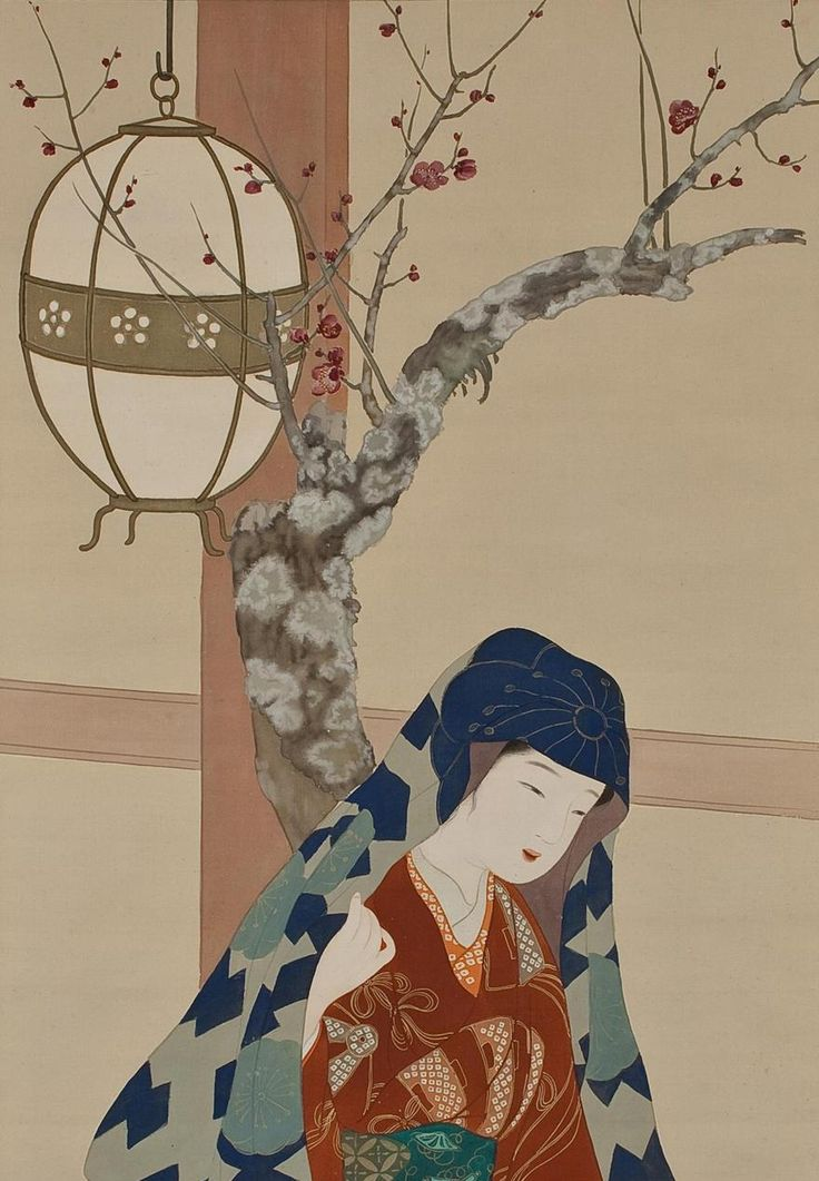 japaneseaesthetics: View of a TempleVisit. ink and color on silk. About 1920's, Japan. Artist Itô Shôha, 1877-1968
