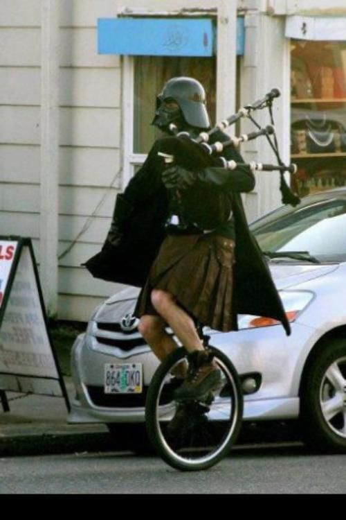 Because sometimes, when you dress up like Darth Vader, you have to ride a unicycle to work while playing the bagpipes and wearing a kilt. This is pure awesomeness