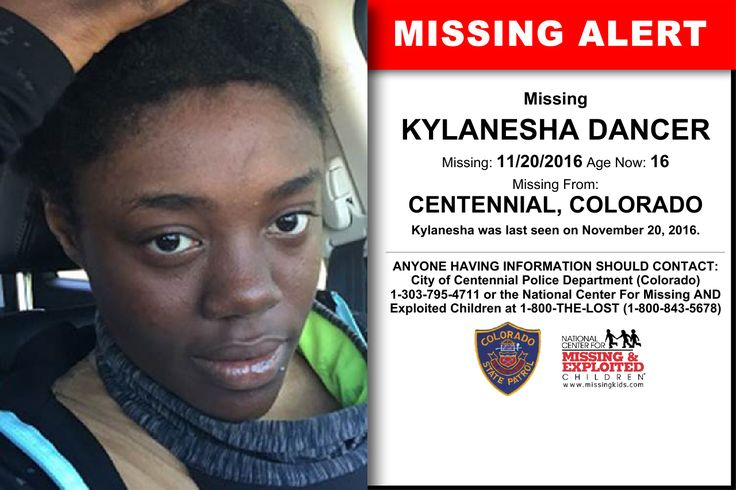 KYLANESHA DANCER, Age Now: 16, Missing: 11/20/2016. Missing From CENTENNIAL, CO. ANYONE HAVING INFORMATION SHOULD CONTACT: City of Centennial Police Department (Colorado) 1-303-795-4711.