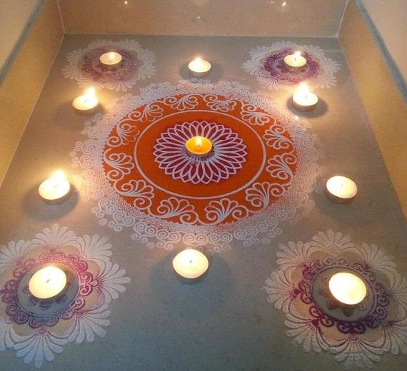 Rangoli Stencils Diy Diwali Rangoli Kit With 12 8 And 4 Stencils Diwali Pinterest