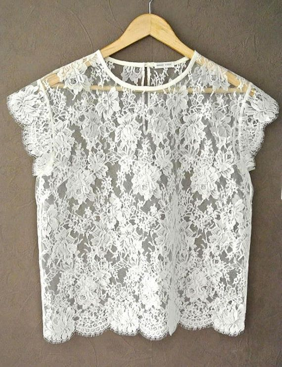 Ivory French Lace Top Short Sleeve French Calais by HiromiParis
