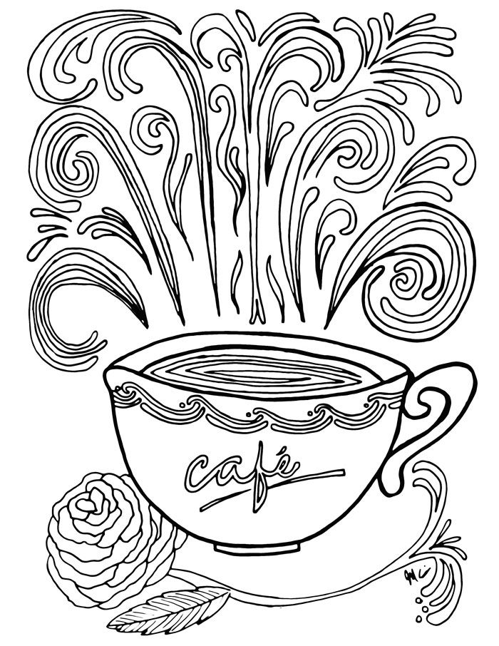 Coffee Coloring Pages Coffee theme and Free printable
