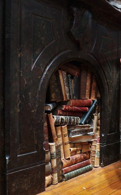 Fireplace Library, West Village, New York City  photo via hearts