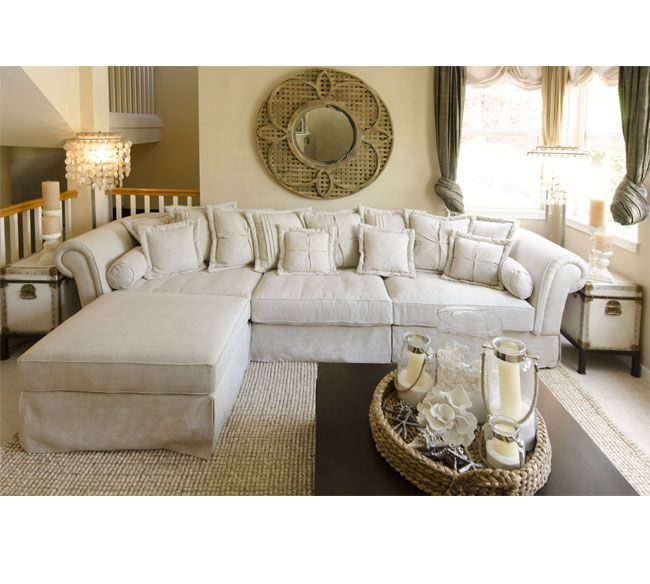 Elements Fine Home Furnishings Bella Fabric Sectional with Ottoman Set in Sand  sc 1 st  Pinterest : michael nicholas designs sectional - Sectionals, Sofas & Couches
