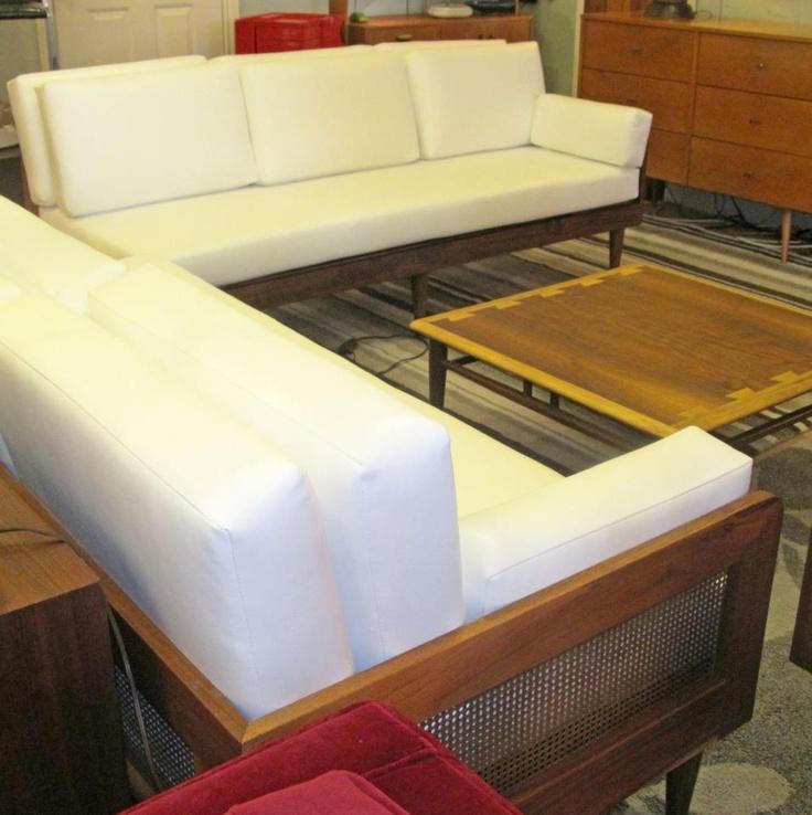 pair of danish modern white sofas - Uptown Modern Furniture Toronto