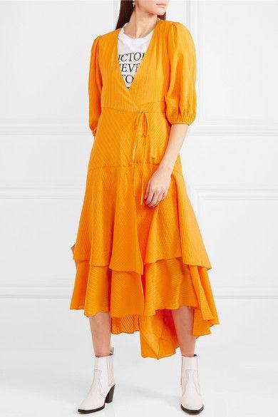 68f89658 GANNI - Wilkie Striped Silk And Cotton-blend Seersucker Wrap Dress - Orange
