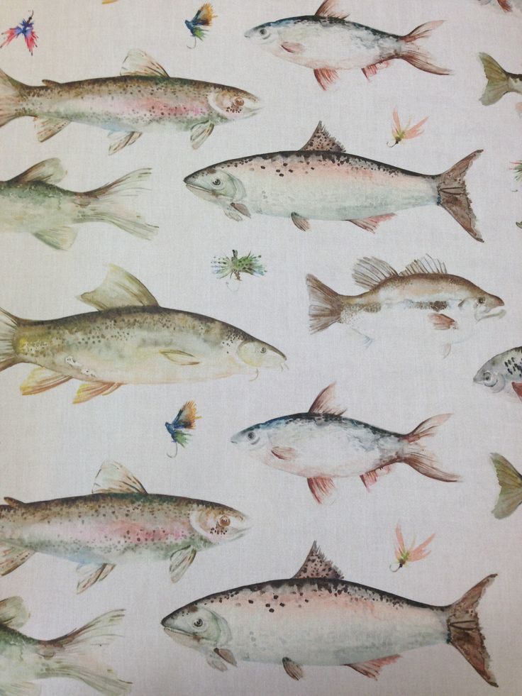 Yläkerran veskiin??  Fish Wallpaper by Voyage 'Country' Wall Art @ Cotton Tree Interiors UK (+44)1728 604700