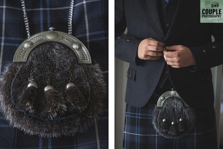 Our Scottish groom ready to go in his navy tartan kilt. Weddings at Tulfarris Hotel & Golf Resort photographed by Couple Photography.