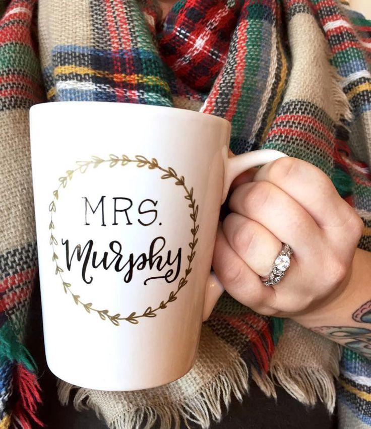 mrs. mug new last name wedding gift / newlywed gift / engagement gift / teacher gift / classroom / personalized mug. by theapothecarybee on Etsy https://www.etsy.com/listing/220008080/mrs-mug-new-last-name-wedding-gift
