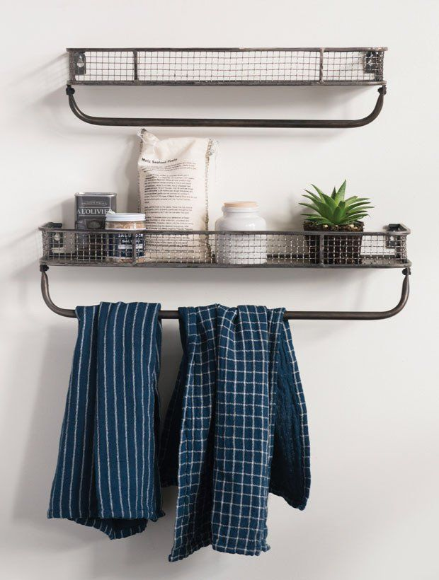 Metal Wall Shelf With Towel Bar Set Of 2 Metal Wall Shelves Wire Wall Shelf Farmhouse Towel Bars