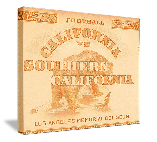 Vintage sports art made from an authentic 1938 Cal vs. USC football ticket. Great vintage sports art for a game room, office, or sports bar!