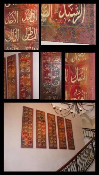 Ninety-Nine Names of Allah in Calligraphy Original Islamic artwork was done by Lizbie Lourens in personalized colours to match your interior.These sets can be made up with 100 canvasses or 5 panels.Canvasses can be installed as follows:Canvas size-150 x 150,20 rows vertical or horizontal x 5 rows -installed size— 3 400 x 820,10 rows x 10 rows installed size- 1 800 x 1 800Canvas size-200 x 200,20 rows vertical or horizontal x 5 rows -installed size— 4 400 x 1 100,10 rows x 10 rows installed…