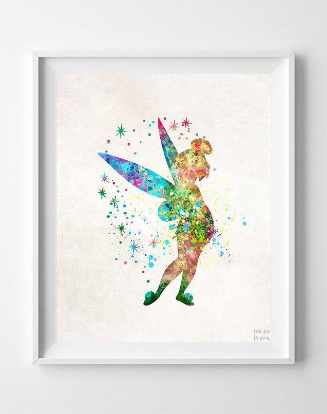 Tinker Bell Print, Peter Pan Watercolor Art, Disney Poster, Playroom Wall Art, Dorm Room Art, Nursery Art, Baby Room, from Inkist Prints.