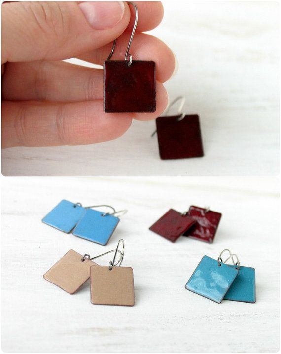 These small dangle enamel #earrings made in dark red maroon color. Sterling silver earwire, small size, modern square form and minimalistic urban design - they fit perfectly... #handmade #jewelry
