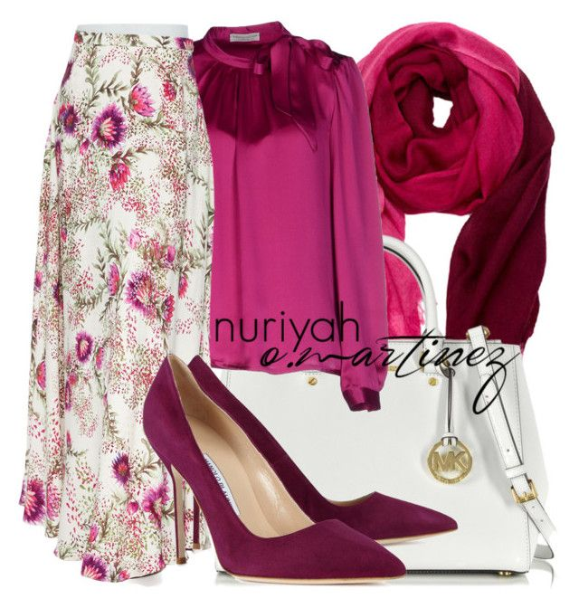 """""""Hijab Outfit #585"""" by hashtaghijab ❤ liked on Polyvore featuring Nine Space, Michael Kors, Roberto Collina, Haute Hippie, Manolo Blahnik and hijab"""
