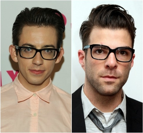 Lookalikes: Kevin McHale and Zachary Quinto: Nerd chic may be the norm in Hollywood these days... but the way their hair follicles fall put up a red flag that Kevin McHale (Artie) and Star Trek actor Zachary Quinto might have been bros in another life (if not this one).